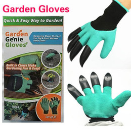 Wholesale Garden Genie Gloves With Claws Built In Claws OPP BAG easy way to Garden Digging Planting Gloves Waterproof Resistant To Thorns D786