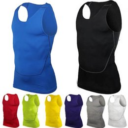 Wholesale Men S Dry Fit - Men's Tight-fitting Sports Compression Vest Fast-dry Basketball Training Tank Top Fitness Clothing Sportswear Sleeveless