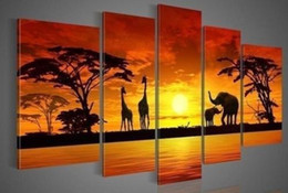 Wholesale Oil Painting African Sunset - 5 panels African Animal in Sunset,genuine Hand Painted Contemporary Wall Decor Landscape Art Oil Painting.Multi customized sizes Available