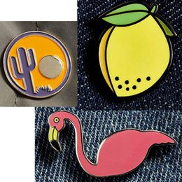 Wholesale Flamingo Accessories - Wholesale- 1PC Animal Flamingo Badge Enamel Pin Brooches for Women Lovely Peach Suit Pins Brooch Corsages Clothing Bags Accessories P1322