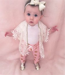 Wholesale Girls Lace Cardigan Coat - 2017 Spring New Baby Girl Cardigan White Lace Pom Pom Half Sleeve Lace Sunscreen Coat Family Matching Clothing E6036