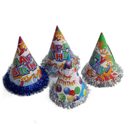 Wholesale Wholesale Kid Paper Hat - Happy Birthday Hat Children for Kid Toy Gift Christmas Paper Party Hats Decoration Caps Birthday Unisex Christmas Cap Festive Supplies