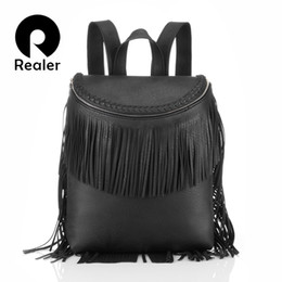 Wholesale Pretty Backpacks - Wholesale- Brand new women tassel backpack black school backpack for teenage girls pretty style school bags with fringe PU leather backpack