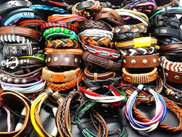 Wholesale Wholesale Made China Leather - wholesale assorted 100PCs Lot mix styles Hand Made Leather Cuff Ethnic Tribes fashion Bracelets brand new