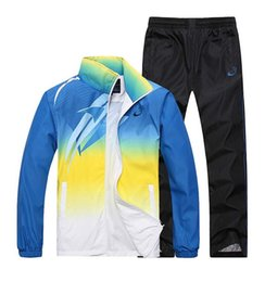 Wholesale Morning Suit White - men sport suit adult early morning runs men tracksuits adult clothing size M-4XL 2 colors 2016 spring and autumn Wholesale sales 167.
