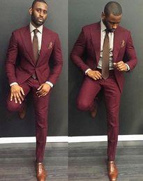 Wholesale Men Green Tuxedos Wedding Suits - Wholesale- Latest Coat Pant Designs Burgundy Green Black Gray Men Suits 2 Pieces Slim Fit Groom Tuxedos Groomsman Wear Wedding Prom Suit