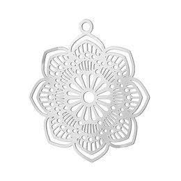 Wholesale Jewelry Findings For Bracelets - Wholesale- 20PCs Stainless Steel Charms Hollow Flower Life Charm For Bracelets Necklace Pendants DIY Charms For Jewelry Making Finding 2016