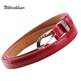 Wholesale Thin White Leather Belt - Wholesale- HOT SALES! Fashion Candy Color Thin Artificial Leather Women's Belts Women Shirt Dress Pants Decoration Female Belt X004