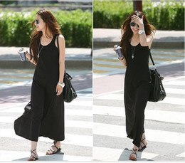 Wholesale Wholesale Solid Tank Dress - Summer Tanks Vests Long Dress For Womens Lady Candy Color Modal Beach Dresses Double U Style All Match