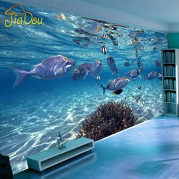 Wholesale Underwater Wallpaper Murals - Wholesale- Custom Photo Wallpaper 3D Stereoscopic Underwater World Of Marine Fish Living Children's Room TV Background 3D Mural Wallpaper