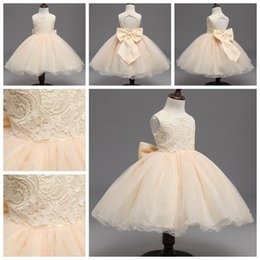 Wholesale Backless Silk Chiffon Wedding Dresses - girls dress beige baby girls wedding dresses lace tutu skirts for kids backless party dress child prom pleated skirt kids gown