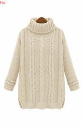 Wholesale Ladies Sweaters Wholesale - Wholesale-2016 New Women Long Sleeve Knitted Pullovers Lady Autumn Winter Sweater Turtleneck Slim Knitwear Black Beige Khaki SV006201