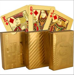 Wholesale Poker Card Magic - Golden Playing Cards Deck gold foil poker Magic card Plastic Poker Durable Waterproof Card 3 designs US dollar   Euro Style   General style