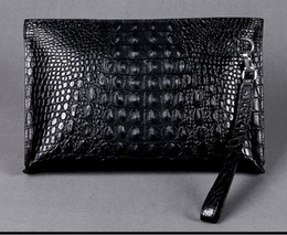 Wholesale Large Envelope Clutch Bags - Men clutch bags genuine crocodile leather soft sturdy Men small business Clutch bags 29cm wide super large volume