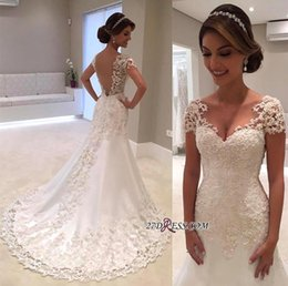 Wholesale sparkle tulle dress - Sparkle Elegant Short Sleeves Wedding Dresses 2017 Lace Appliqued Sequins Mermaid Bridal Gowns Illusion Back Vintage Beach Wedding Gowns