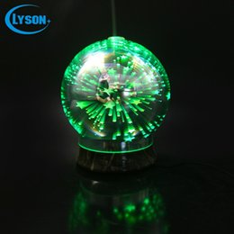 Wholesale Electric Firework - 3D Effect Fireworks Glass Cover Ultrasonic Electric Aroma Humidifier 100ml Capacity Mini Aromatherapy Diffuser With Adaptor
