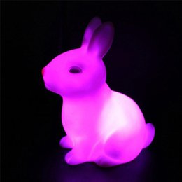 Wholesale Rabbit Table Lamp - Wholesale- 7 Colourful Evade Glue Cute Rabbit Shape LED Night Light Decoration Table Lamp Children Nightlight Gift