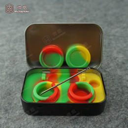 Wholesale Waxing Iron - 2018 Iron silicone box non-stick silicone Dab container wax box colorful food grade reusable silicone dab wax jar dry herb vaporizer box