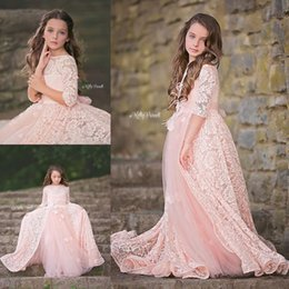 Wholesale Long Girl Black Skirts - Adorable Lace Pink Flower Girls Dresses With Over Skirt Long Sleeves Appliques Beaded Girls Pageant Dress Floor Length Communion Gowns