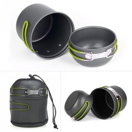 Wholesale Hiking Cooking - Outdoor Travel Picnic Cookwares Non-stick Pots Pans Bowls Portable Camping Hiking Climbing Cooking Cookware Set with Net Bag