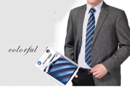 Wholesale Men S Neck Ties Silk - Wholesale Men 's Tie Six - Piece Cufflinks Pocket Bag Towel Gift Boxed Weddin Groom Tie Clip Korean Version Neck Ties