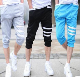 Wholesale Leisure Harem Pants Men - Wholesale-Summer leisure trousers mens street hip hop stretch stitching skinny leg harem pants men sweatpants pantalon homme 3 4pants