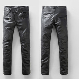 Wholesale Regular Bp - Wholesale-Paris BP New Arrival Fashion Runway Biker PU Leather Slim Pant Size28-38 (#904),Free Shipping
