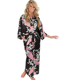Винтажные сексуальные ночные рубашки онлайн-Wholesale- Brand New Black Women Silk Kimono Robes Long Sexy Nightgown Vintage Printed Night Gown Flower Plus Size S M L XL XXL XXXL A-045