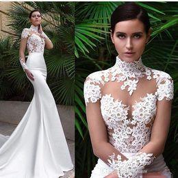Wholesale Wedding Gown Shirt Collar - New Arrival Mermaid Wedding Dresses 2017 High Neck Sheer Long Sleeves Lace Appliques Satin See Through Beach Garden Bridal Gown Cheap
