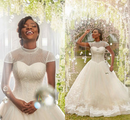Wholesale african beaded collars - 2018 Newest Ball Gown Wedding Dresses High Neck Cap Sleeves Sequins Beaded Appliques Tulle Black Bridal Dress African Nigeria Wedding Gowns
