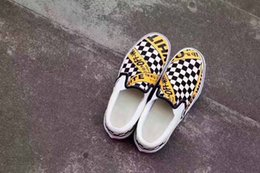 Wholesale Industrial Leather Belting - 2017 Limited Edition Off White X Classic Slip On LX cCanvas New Fashion Men Women Checkerboard Industrial Belt casual Shoes Size 35-44