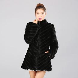 Wholesale Real Mink Fur Coats Women - real natural mink fur coat Long Sleeve Mink Fur Outwear Black Plus Size L-5XL