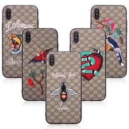 Wholesale Painted Tiger - For iPhone X 3D Embroidery Case Snake Tiger Pattern Animal Slim Cute Painting Stylish Shockproof Protector Cover For iPhone X 8 Plus 7 6 6S