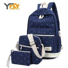 Wholesale grils sets - Wholesale- Y-FLY 3pcs set 2016 Canvas Fashion Backpacks for Teenage Grils New Casual Women Backpack Preppy Dot Computer Travel Bags HC5045
