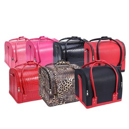 Wholesale Train Pillow Case - Professional Cosmetic Case Makeup Train Cases 7Colors PU Leather Women Pink Tote Bag Beauty Make Up Organizer Multifunctional Bags