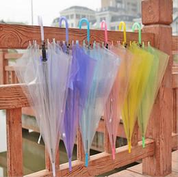 Wholesale Umbrellas Children - Transparent Clear Umbrella EVC Long Handle Rain Sun Umbrella See Through Colorful Umbrella for Rainproof Wedding Decoration for Adult Kids