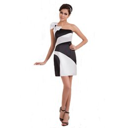 bow picture lady Promo Codes - One Shoulder Sheath Style Ladies Short Dress Party With Bow White And Black Satin Prom Dress Above Knee