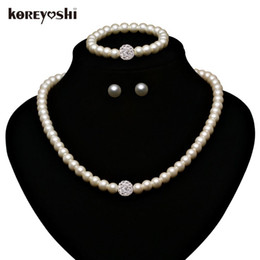 Wholesale Natural Pearls Wedding Sets - Jewelry Sets 2016 new Fashion Imitation White Natural pearl jewellery set Rhinestone Ball wedding accessories for women Schmuck