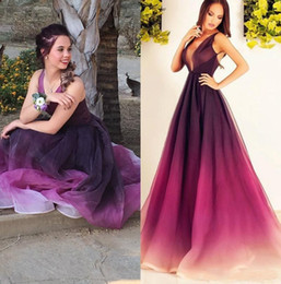 Wholesale Elegant Gowns For Girls - Gradient Ombre Prom Dress Long Floor Length Sleeveless Deep V Neck A LIne Party Gown Elegant Fashionable Style Simple For Teen Girls Wear