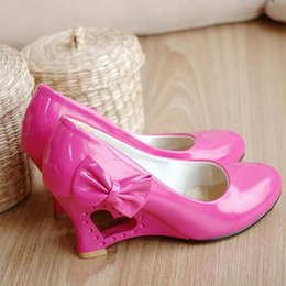 Wholesale Heart Heels Shoes - Women Wedges Shoes Sweet Heart Princess Bow Woman Wedding Shoes Fretwork Wedges Heels Casual Women's Pumps Big Size 35-43