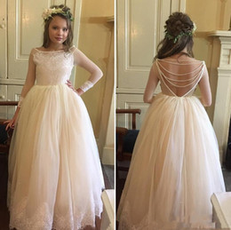 Wholesale long tulle flowergirl dresses - Illusion long sleeve little girls wedding dresses scoop neck applique beading backless flowergirl dresses floor length tulle party gowns