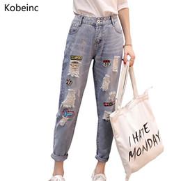 Wholesale Women Harem Capri - Wholesale- Fashion 2017 Autumn Harem Capri Pants Patchwork Ripped Jeans Causal Washed Denim Pantalones 26-31 Large Size Women Trousers