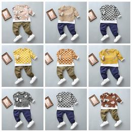 Wholesale korean kids shirt wholesale - Fashion 2017 new baby autumn suit baby boys lonf sleeve T-shirt+pants 2pcs suit Korean style burn-out hole kids clothes