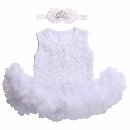 Wholesale Christening Gowns For Newborns - Wholesale- newborn baby girl dresses 2017 baptism;christening baby dresses for girls party;new born infant baby girl clothes headband set