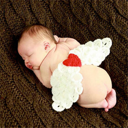 Wholesale Newborn Crochet Hat White - Crochet White Angel Wings Newborn Baby Photography Props Crochet Baby Coming home Outfits Baby Christening Outfits
