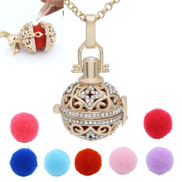 Wholesale Ball Chain Necklace Colors - Gold Full Crystal Rhinestone Hollow Cage Locket Aromatherapy Essential Oil Diffuser Pendant Chain Necklace With 7 Colors Washable Balls