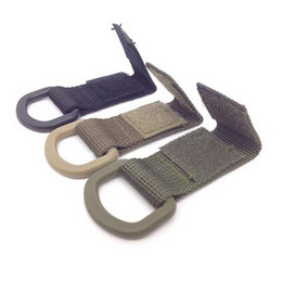 Wholesale D Ring Climbing Carabiner - Hot sale Military Tactical Carabiner Nylon Strap Buckle Hook Belt Hanging Keychain D-Shaped Ring Molle System Black Green Khaki Color A284
