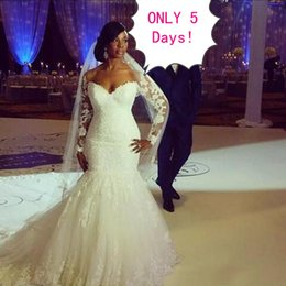 Wholesale Long Sleeved Mermaid Wedding Dresses - Stunning 2017 Plus Size Mermaid Wedding Dresses Trumpet Sweetheart Illusion Lace Appliques Long Sleeved Bridal Gowns with Train