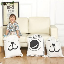 Wholesale machine bearings - Storage Bags Room Toy Bag Home Furnishing Canvas Storages Package Bear Face Letter Washing Machine Pattern Sack Kids 6 2yq D R
