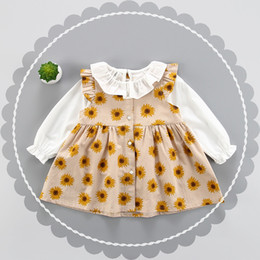 Wholesale Little Girls Shirts Wholesale - Girls Sunflower Vest Dresses Outfits with Shirt Latest 2017 Kids Boutique Clothing Little Girls Ruffle Collar Long Sleeves 2 Pieces Set